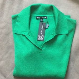 CABLE & GUAGE GREEN SHORT SLEEVE KNIT TOP SIZE L